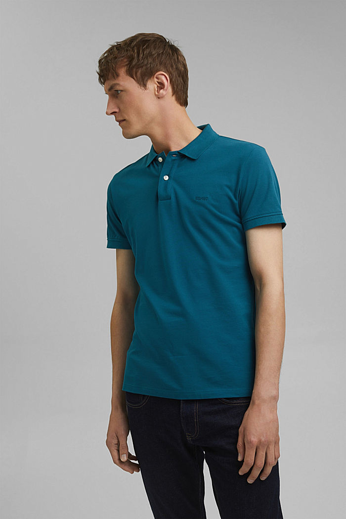 Piqué polo shirt in 100% cotton, PETROL BLUE, detail image number 0