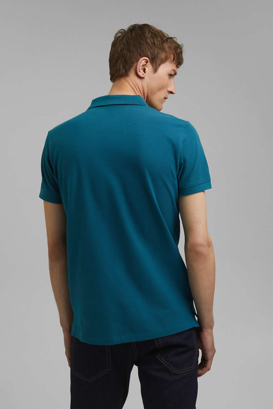 Piqué polo shirt in 100% cotton, PETROL BLUE, detail image number 3