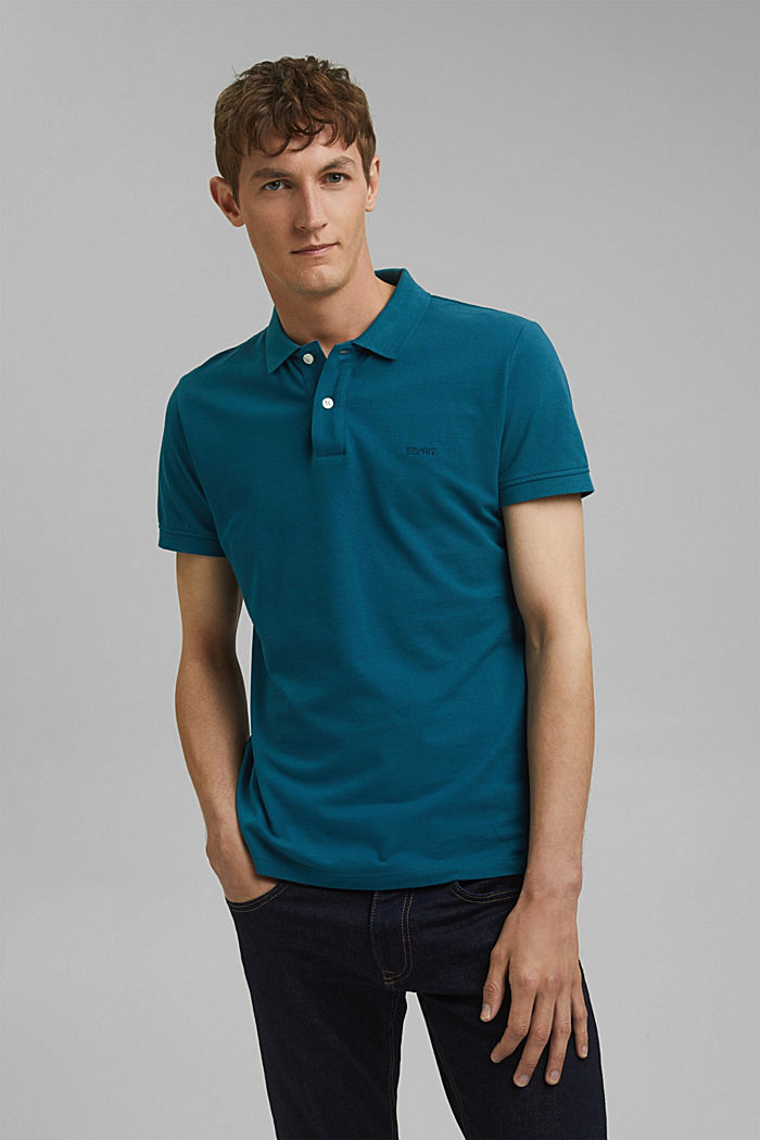 Piqué polo shirt in 100% cotton, PETROL BLUE, detail image number 4