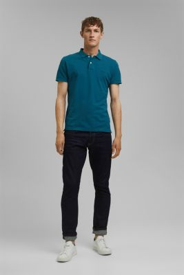 Piqué polo shirt in 100% cotton, PETROL BLUE, detail