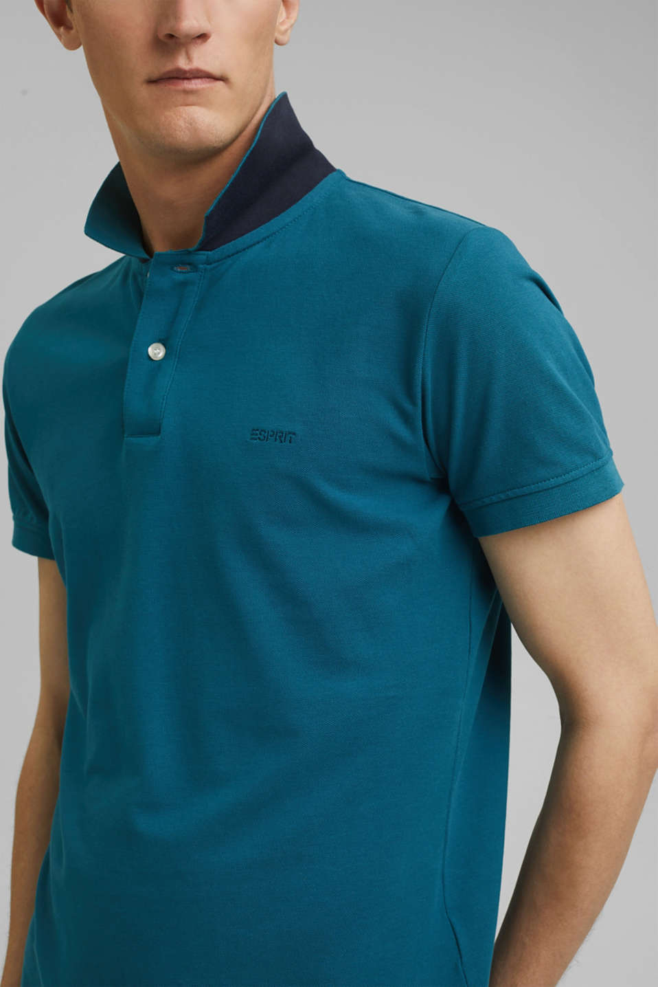Piqué polo shirt in 100% cotton, PETROL BLUE, detail image number 1