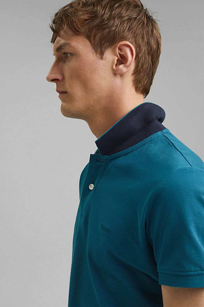 Piqué polo shirt in 100% cotton, PETROL BLUE, detail image number 6