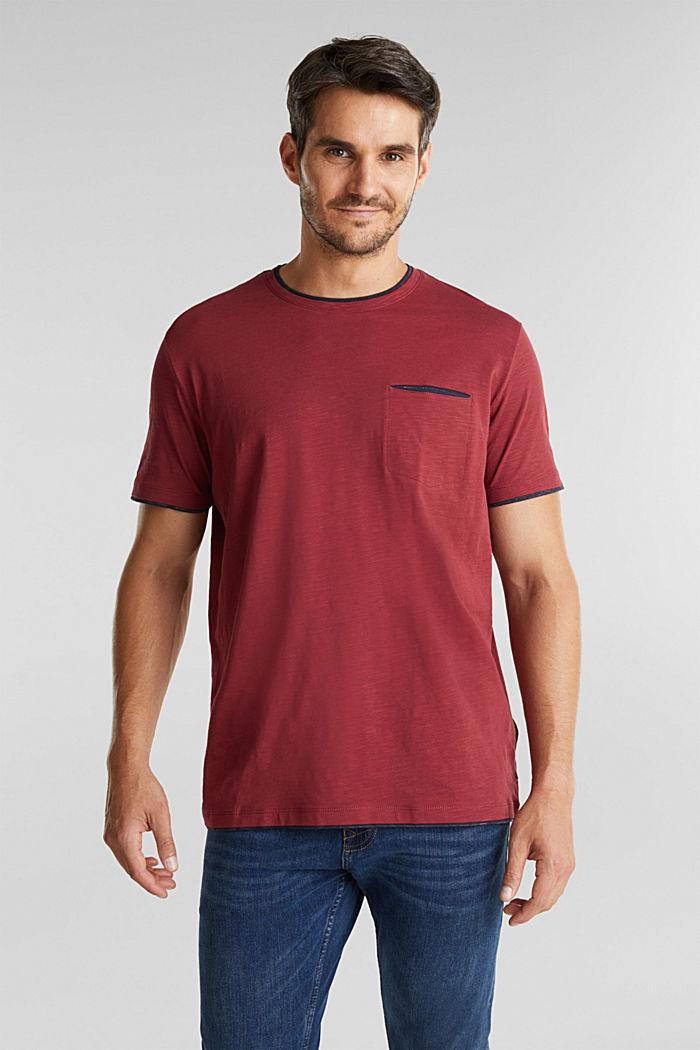 Jersey-Shirt aus 100% Organic Cotton, BORDEAUX RED, detail image number 0