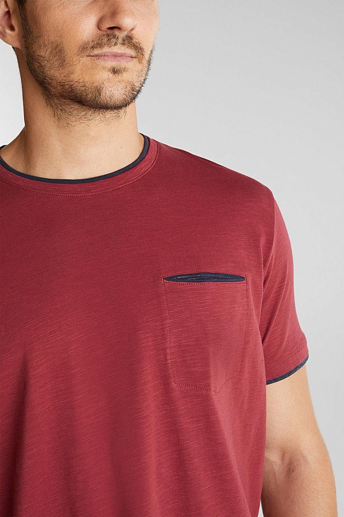 Jersey-Shirt aus 100% Organic Cotton, BORDEAUX RED, detail image number 1