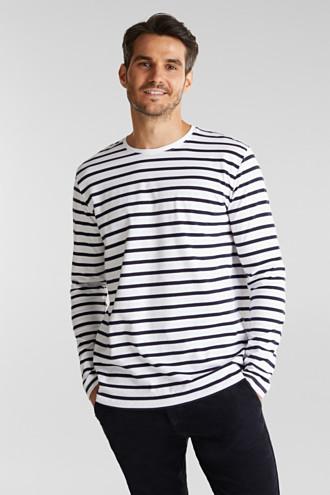 Striped jersey long sleeve top, organic cotton
