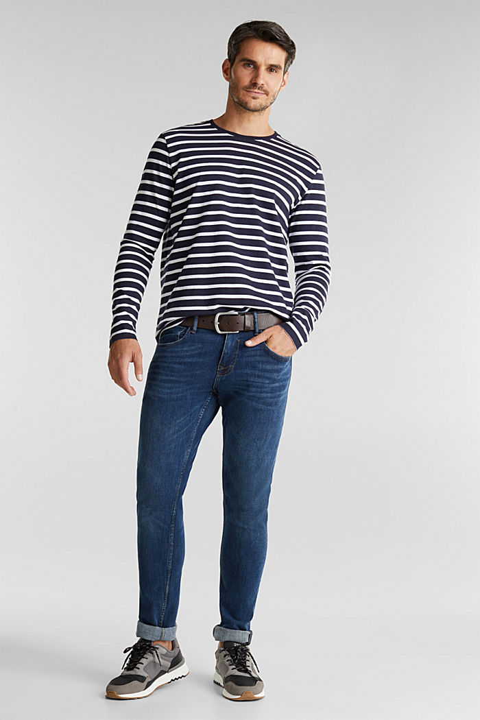 Striped jersey long sleeve top, organic cotton, NAVY, detail image number 2