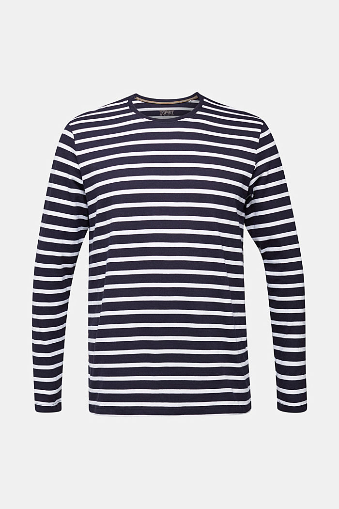 Striped jersey long sleeve top, organic cotton