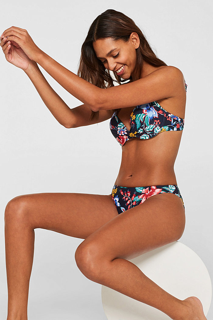 Push-up top with a floral print, INK, detail image number 0