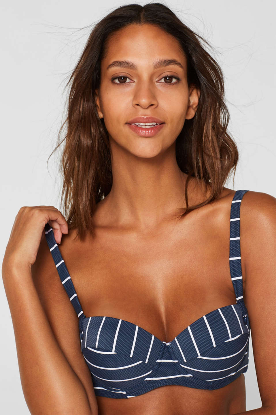 Esprit - Padded balcony top with stripes