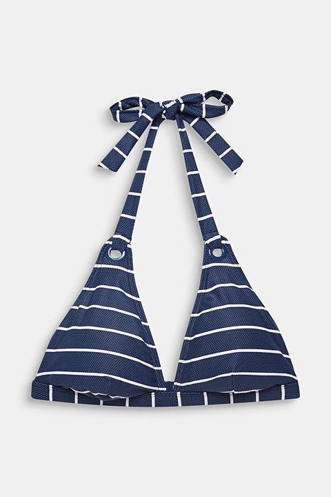 Printed, padded halterneck bikini top