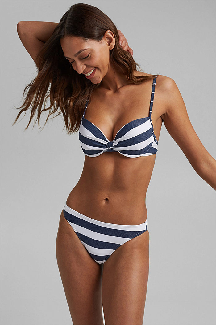 Padded underwire top with stripes, DARK BLUE, detail image number 0