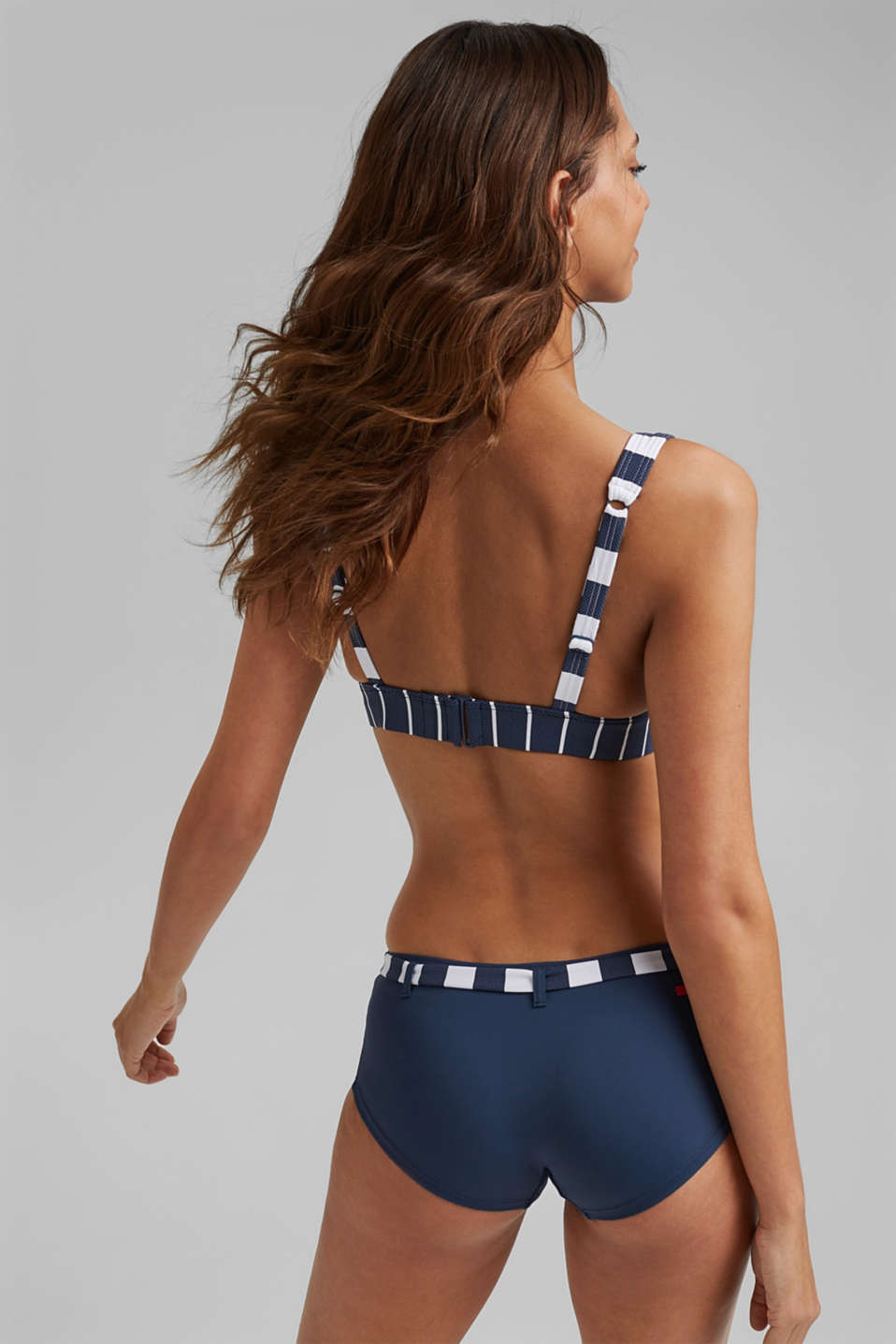 Padded, non-wired top with stripes, DARK BLUE, detail image number 1