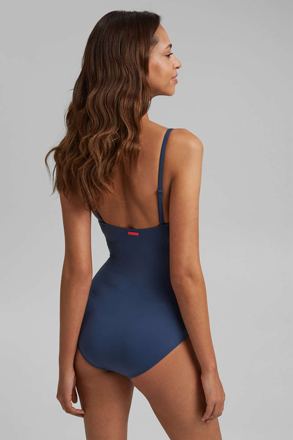 Swimsuit with concealed underwiring, DARK BLUE, detail image number 1