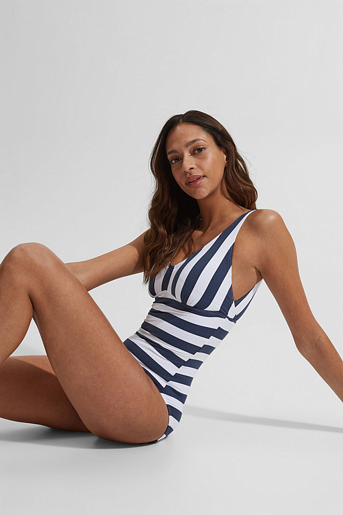 Padded swimsuit with stripes, DARK BLUE, detail image number 2