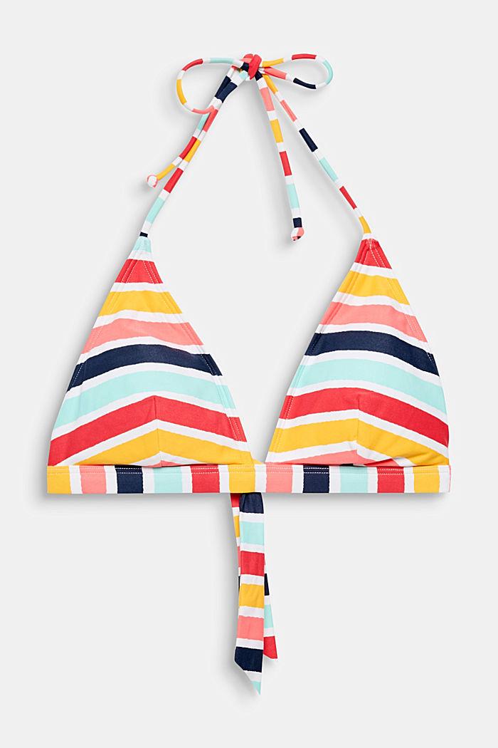 Wattiertes Top mit Multicolor-Streifen
