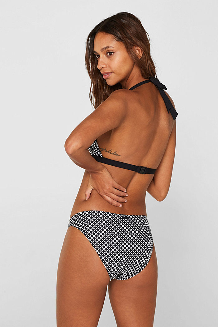 Printed, padded halterneck bikini top, BLACK, detail image number 1