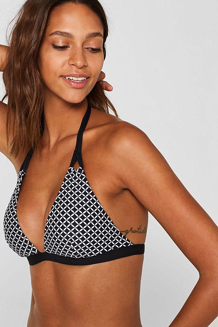 Printed, padded halterneck bikini top, BLACK, detail image number 2