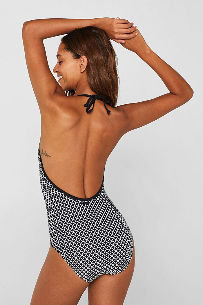 Padded printed swimsuit, BLACK, detail image number 1