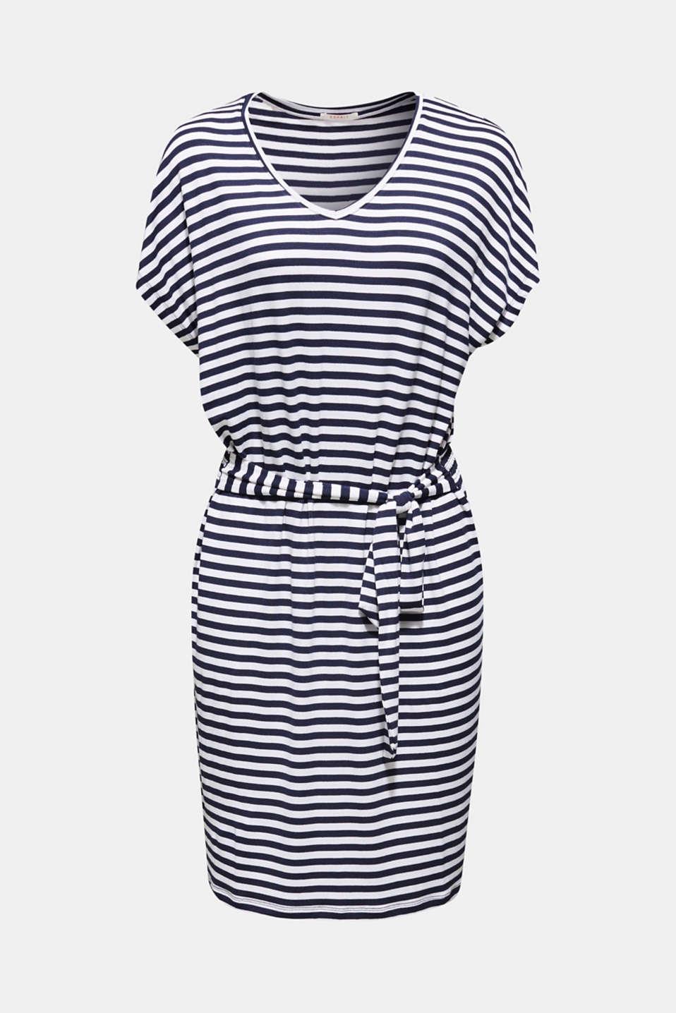 Beach dress with a tie-around belt, WHITE, detail image number 2