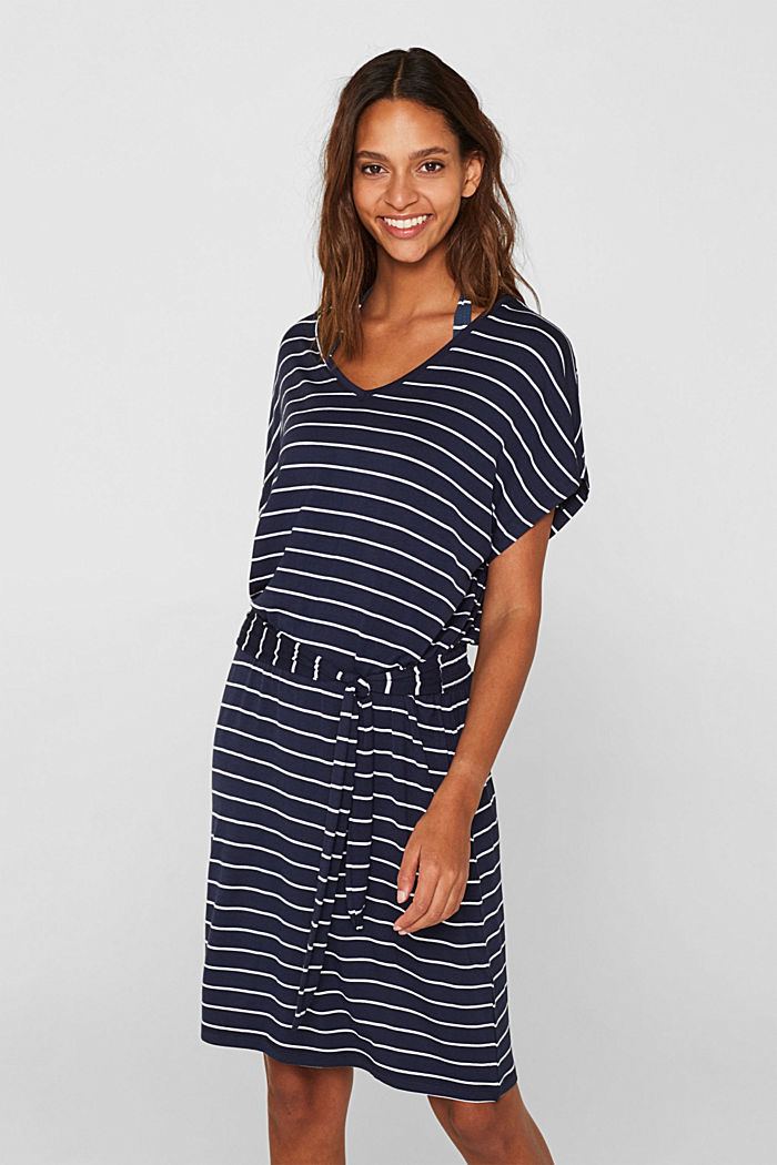 Casual dress with a tie-around belt, NAVY, detail image number 0