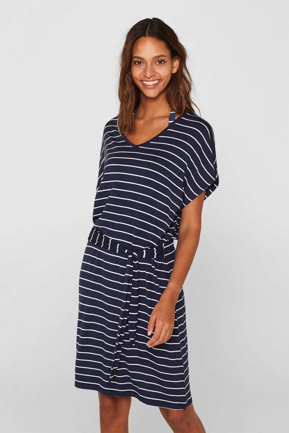 Esprit - Casual dress with a tie-around belt