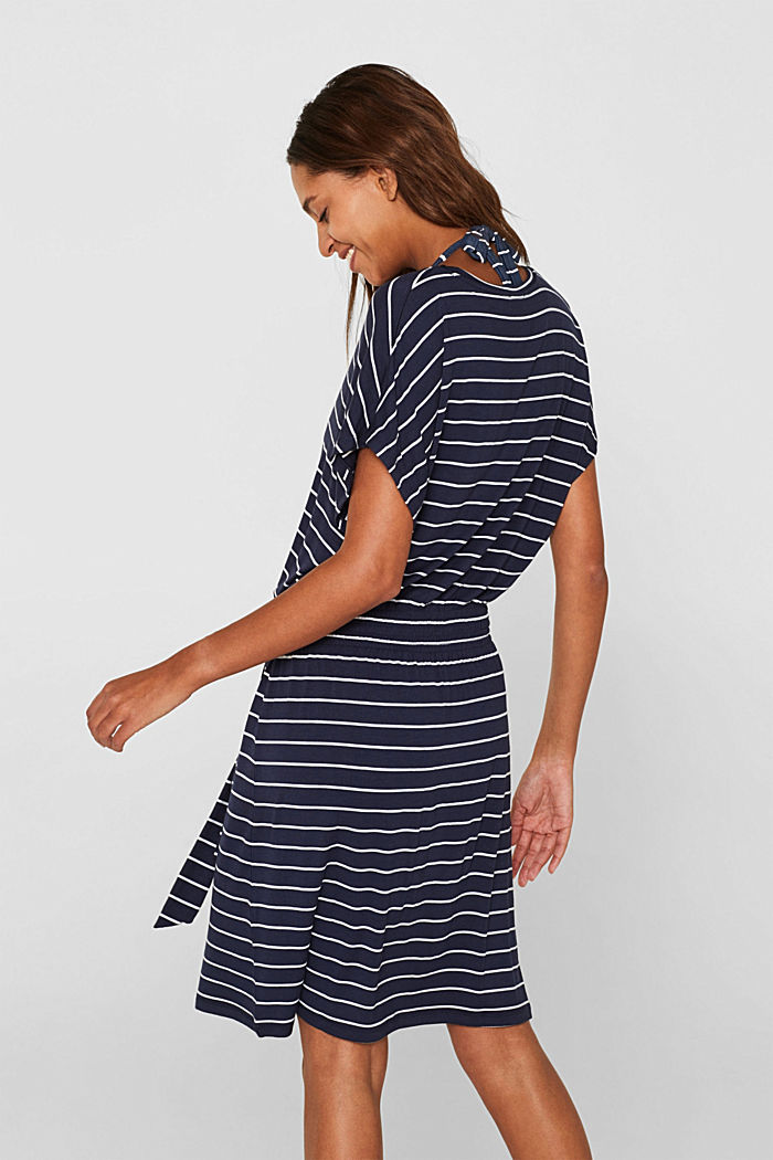 Casual dress with a tie-around belt, NAVY, detail image number 1
