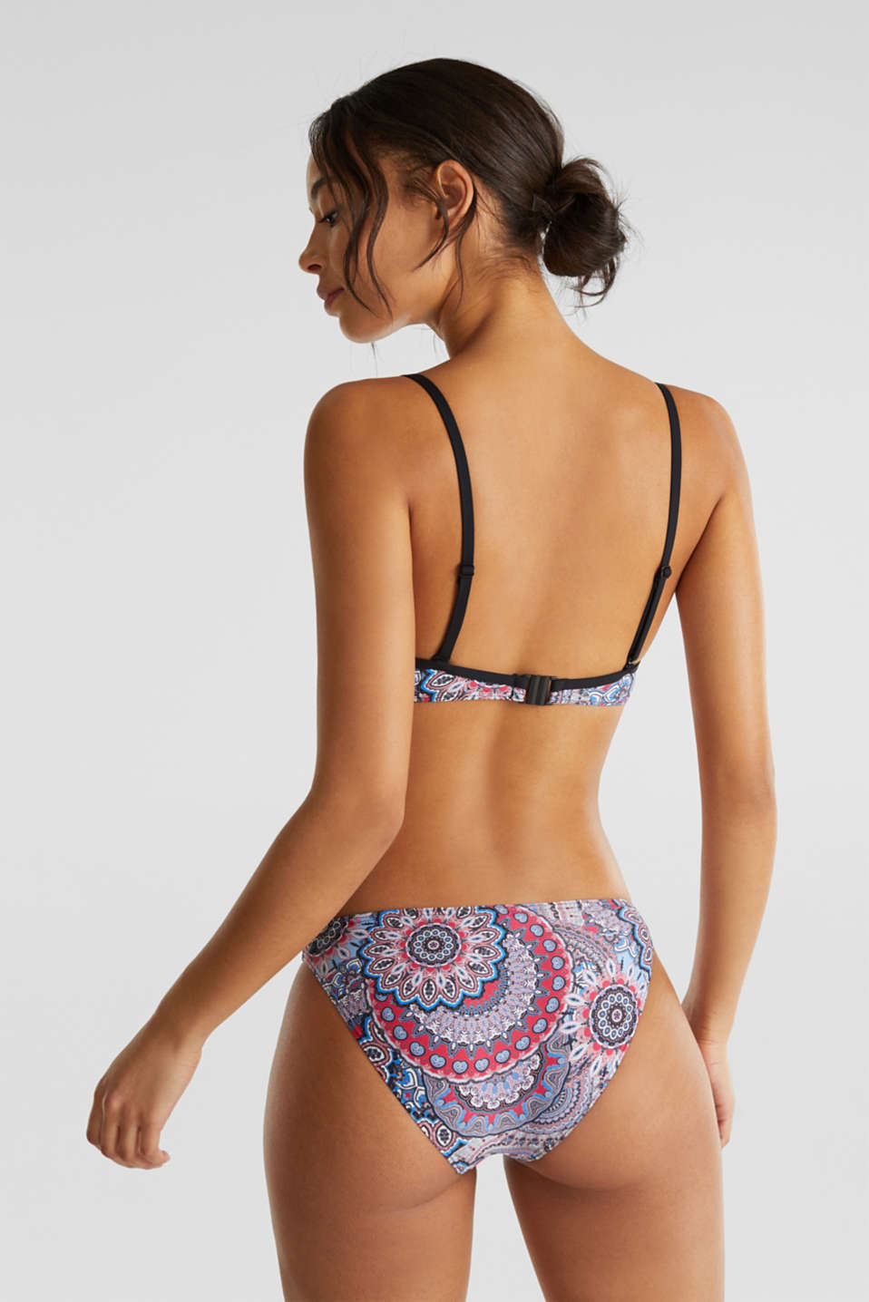 Printed, padded underwire bikini top, BLACK, detail image number 1