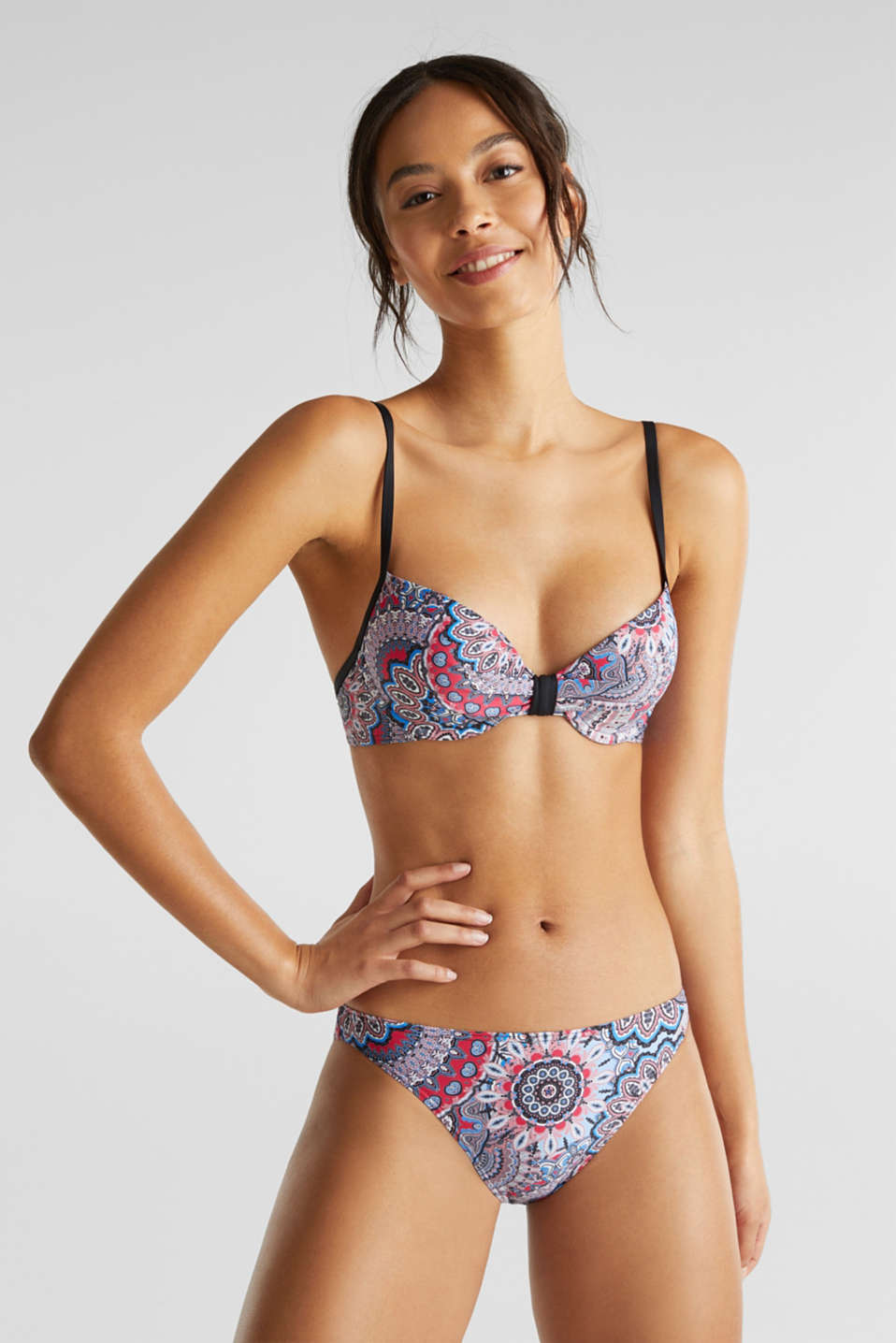Printed, padded underwire bikini top, BLACK, detail image number 2