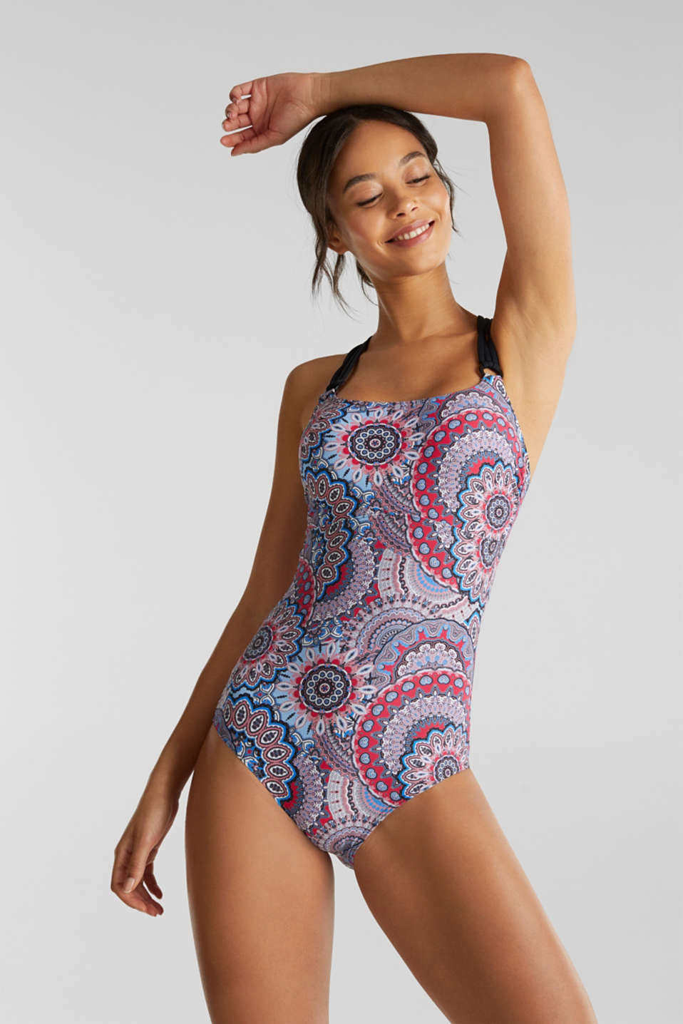 Padded swimsuit with multi-way straps, BLACK, detail image number 0