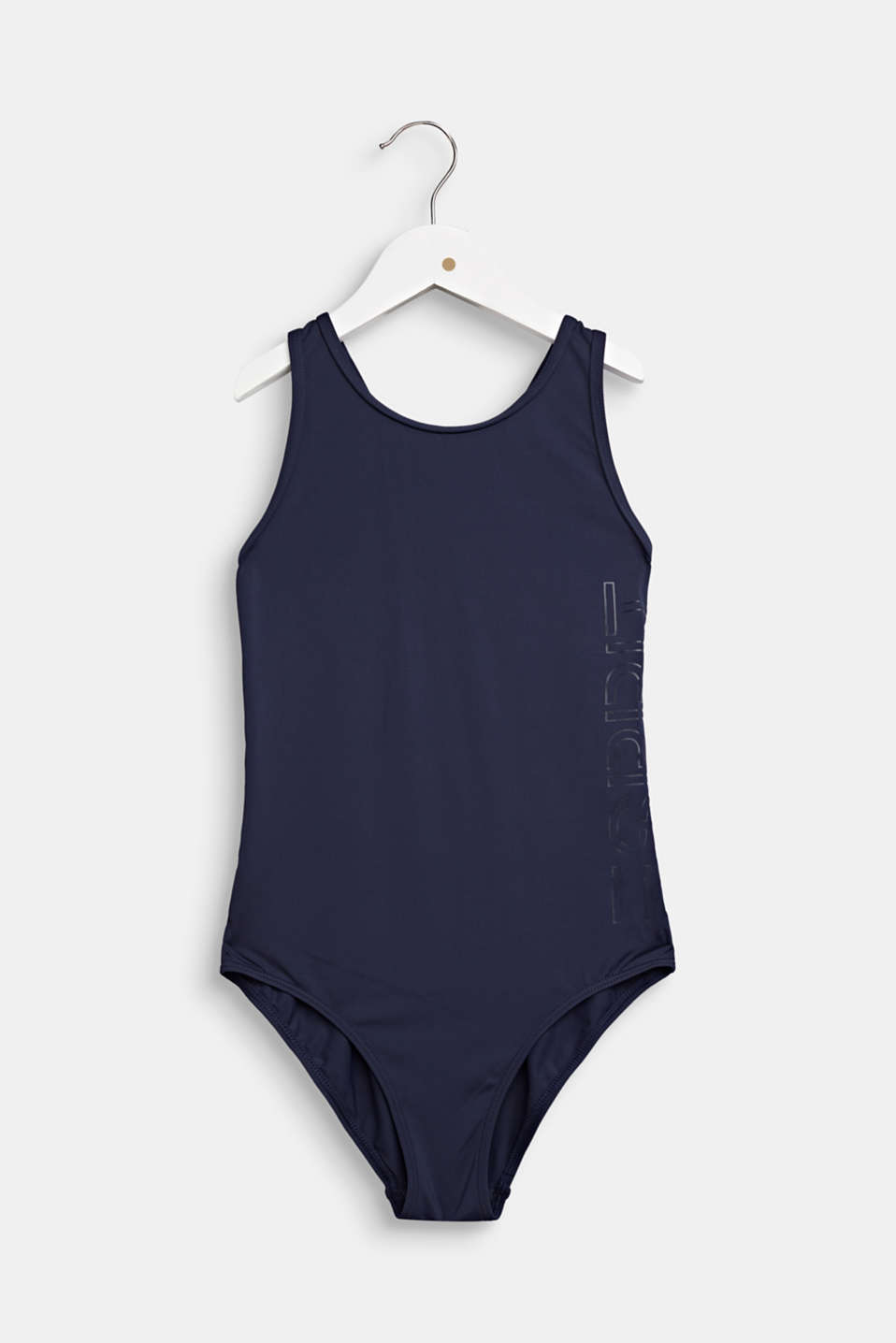 Esprit - Swimsuit with cross-over straps and a logo print