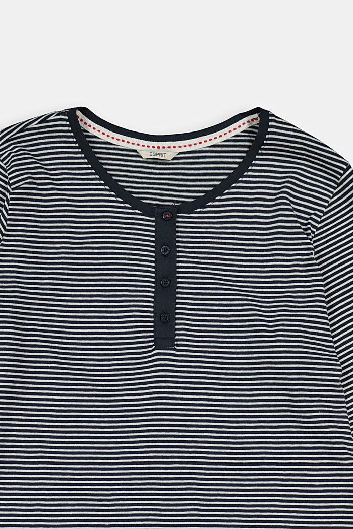 Gestreiftes Jersey-Nachthemd, 100% Bio-Baumwolle, NAVY, detail image number 2
