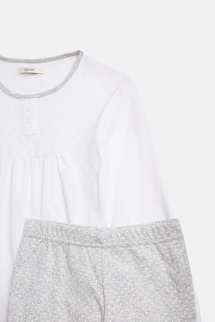 Pyjama met ajourpatroon, 100% katoen, LIGHT GREY, detail image number 2