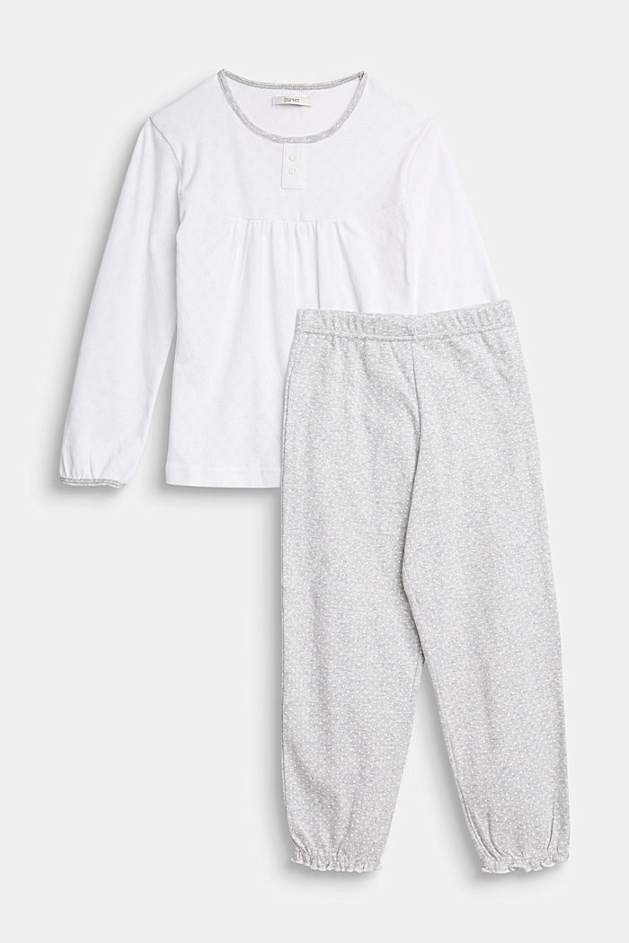 Pyjama mit Ajour-Muster, 100% Baumwolle, LIGHT GREY, overview