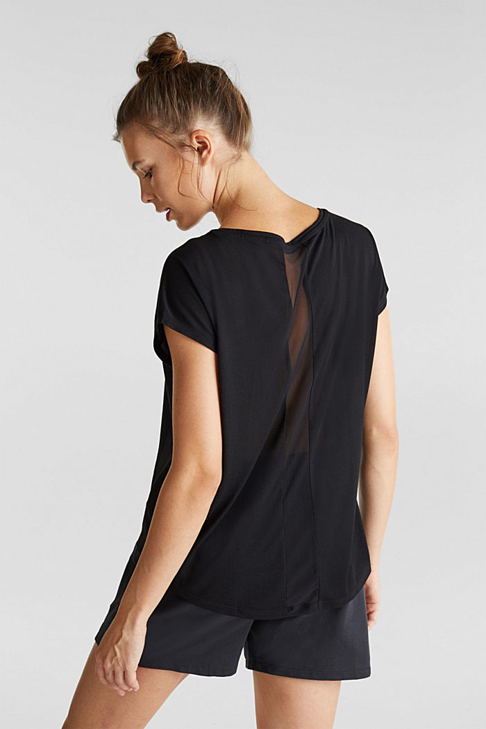 Recycelt: T-Shirt mit Netz-Einsatz, BLACK, detail image number 3