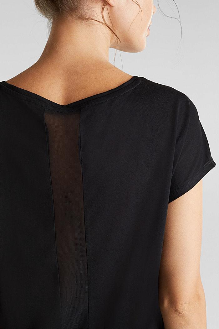 Recycelt: T-Shirt mit Netz-Einsatz, BLACK, detail image number 2