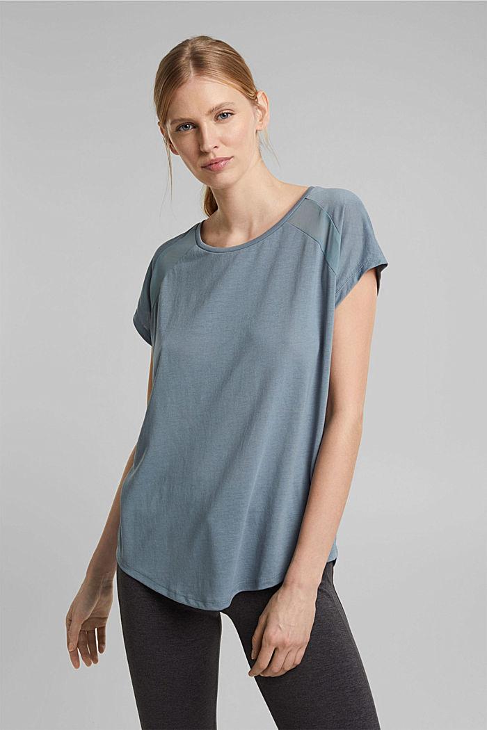 En matière recyclée: t-shirt à empiècement en dentelle, DUSTY GREEN, detail image number 0