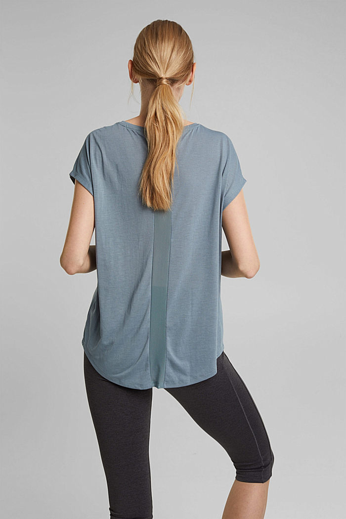 Recycled: T-shirt with mesh inserts, DUSTY GREEN, detail image number 3