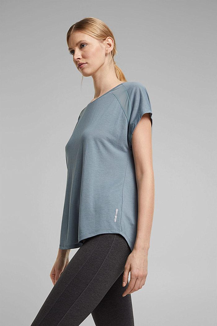 En matière recyclée: t-shirt à empiècement en dentelle, DUSTY GREEN, detail image number 5