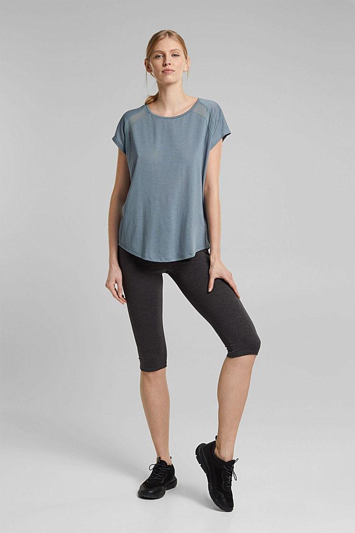 En matière recyclée: t-shirt à empiècement en dentelle, DUSTY GREEN, detail image number 1