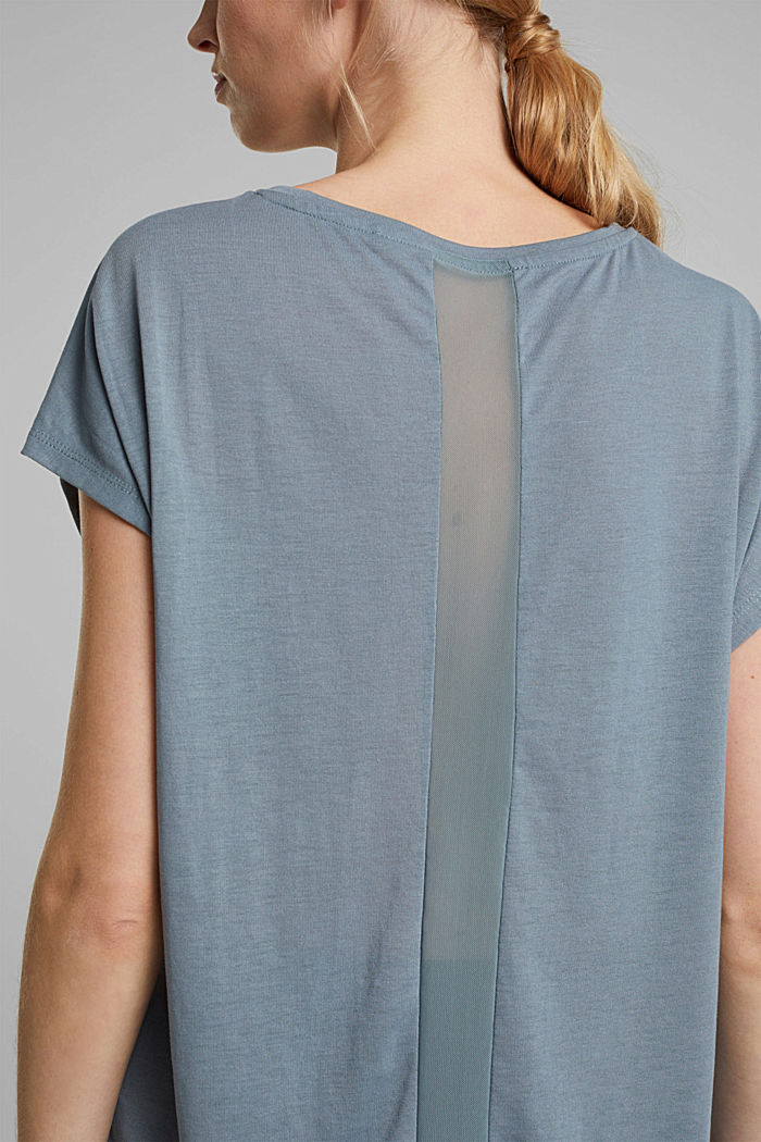 Recycled: T-shirt with mesh inserts, DUSTY GREEN, overview