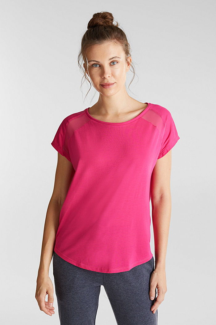 Recycled: T-shirt with mesh inserts, PINK FUCHSIA, detail image number 0