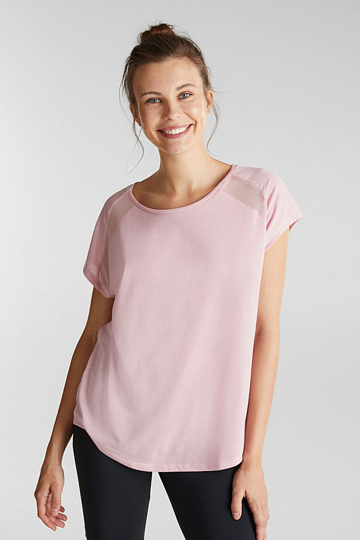 Recycled: T-shirt with mesh inserts, LIGHT PINK, detail image number 0