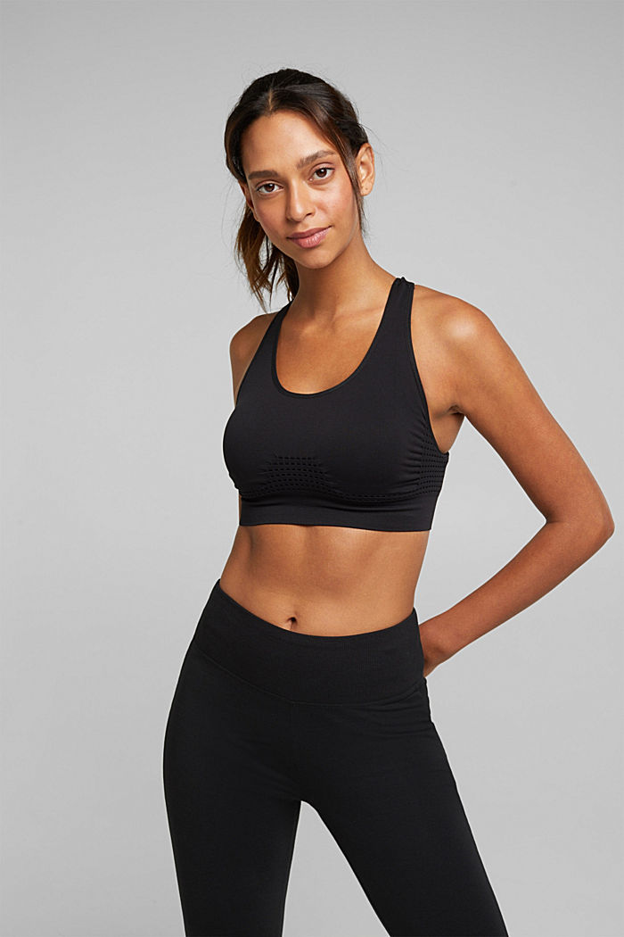 Recycled: seamless sports bra, BLACK, detail image number 0