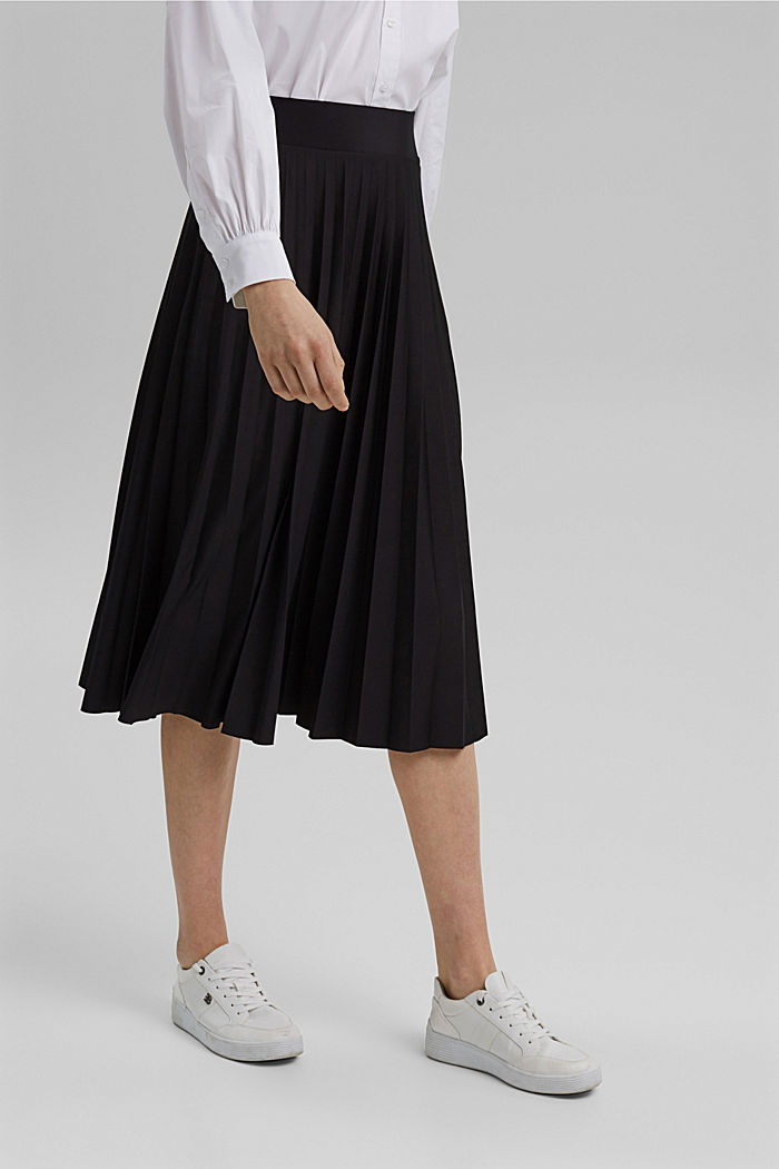 Recycled: Pleated skirt with an elasticated waistband, BLACK, detail image number 0