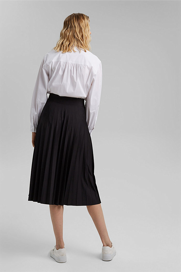 Recycled: Pleated skirt with an elasticated waistband, BLACK, detail image number 3