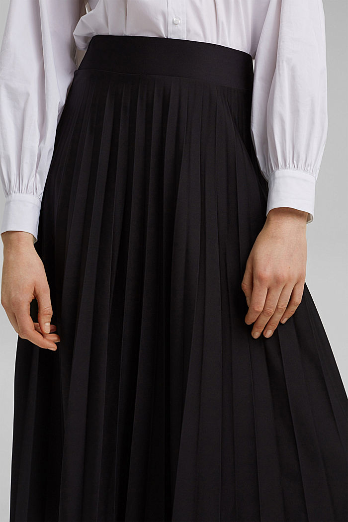 Recycled: Pleated skirt with an elasticated waistband, BLACK, detail image number 2