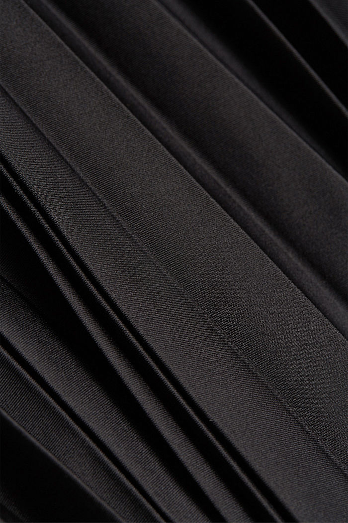Recycled: Pleated skirt with an elasticated waistband, BLACK, detail image number 4