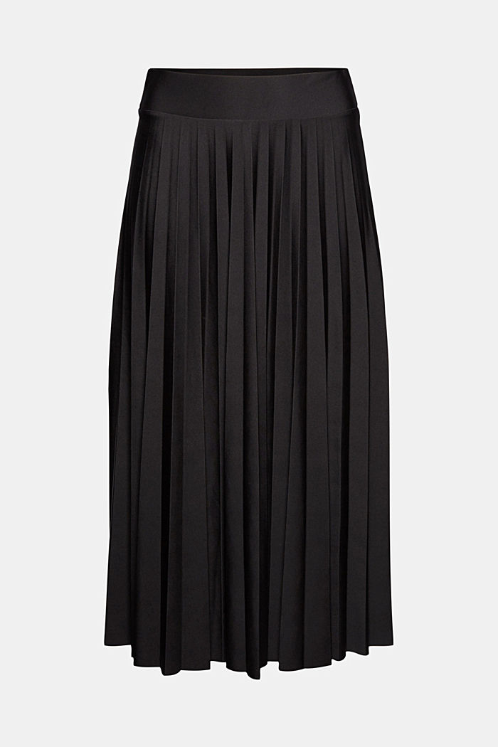 Recycled: Pleated skirt with an elasticated waistband, BLACK, detail image number 6