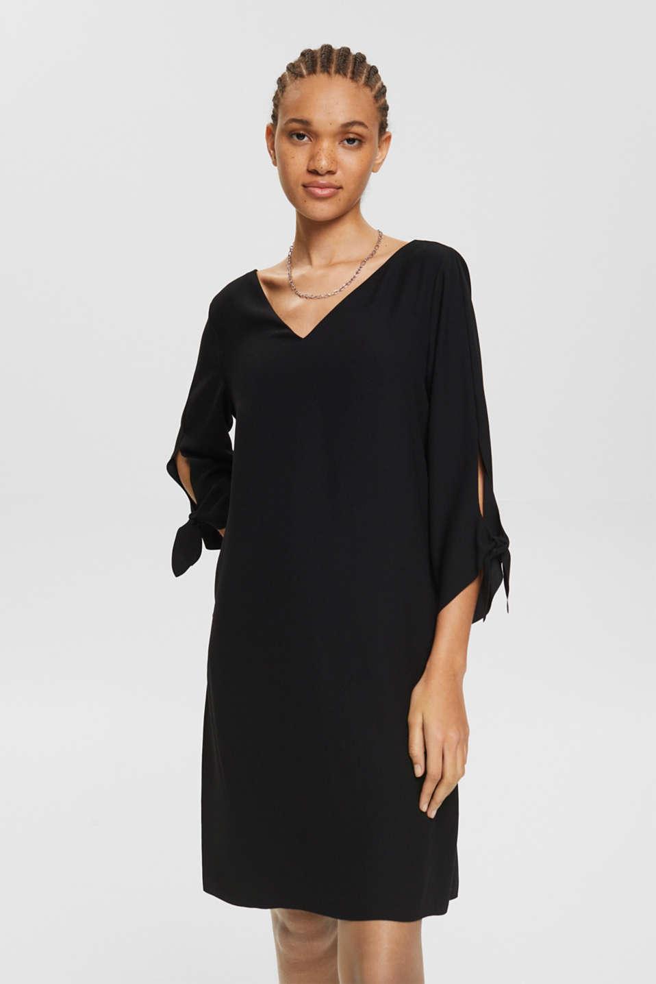 Crêpe dress with laser-cut details, BLACK, detail image number 0