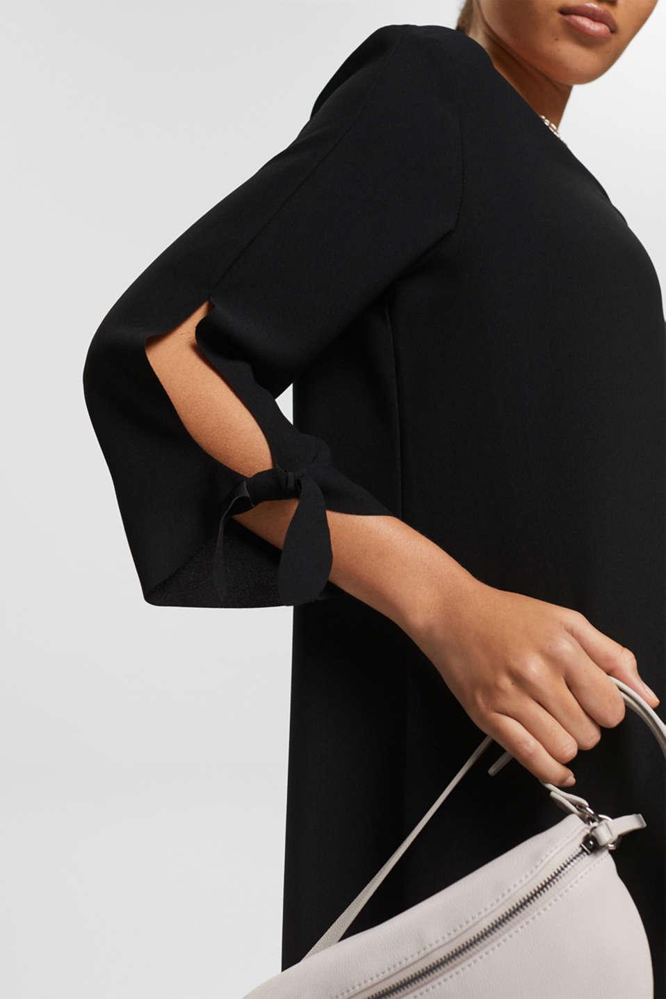 Crêpe dress with laser-cut details, BLACK, detail image number 3